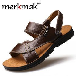 Merkmak 2017 New Summer Men Beach Sandals Genuine Leather Casual Shoes Vacation Slippers Mens Comfort Soft Flat Sandal Shoes