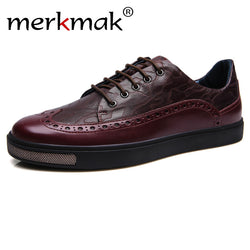 Merkmak 2016 Men Shoes Fashion Genuine Leather Casual Brogue Ankle Flats Men Shoes Moccasins Sapatos Masculino Comfortable Shoes