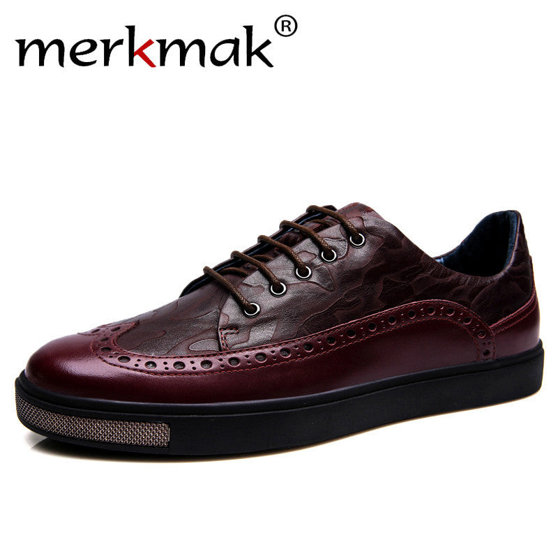 Merkmak Luxury Brand Men's Flats Shoes Genuine Leather Men Casual Shoes Brogue Style High Quality Oxfords Retro Man Footwear