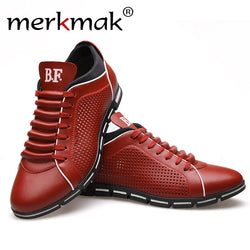 Merkmak Men Casual Shoes 2017 Fashion Oxford Leather Breathable Holes Design Shoes for Men Summer Men's Flat Shoes Dropshipping