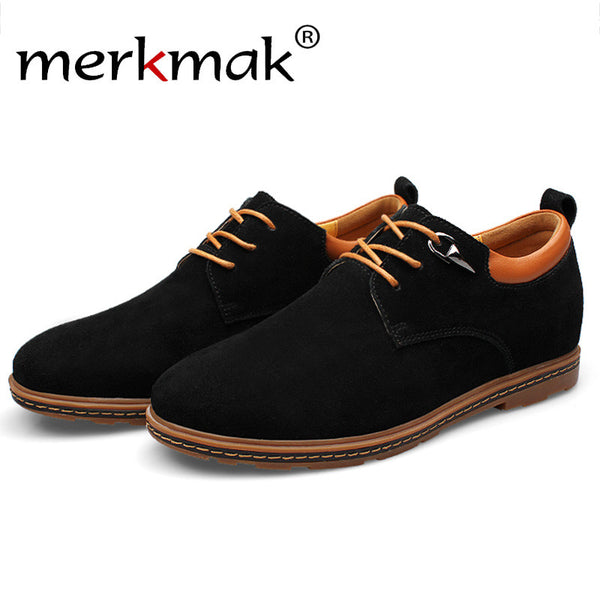 Merkmak 2016 Men Shoes Genuine Leather Fashion Casual Height Increase Pointed Toe Sapatos Masculinos Breathable Men Flats Shoes