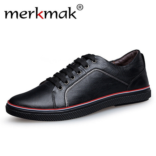 Merkmak Large Size 37-46 Genuine Leather Men Casual Shoes Luxury Brand Designer Real Leather Shoes Fashion Oxfords Mens Flats