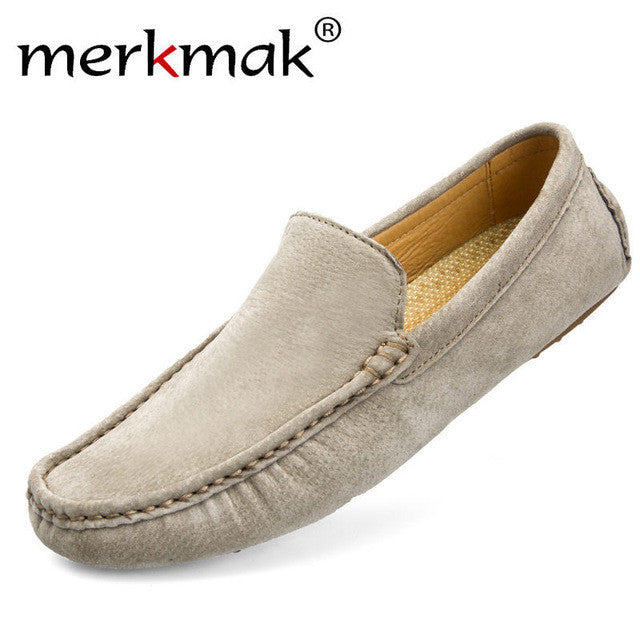 Merkmak High Quality Men Flats Shoes Genuine Leather Casual Loafer Softs Moccasins Driving Footwear Breathable Shoes Wholesales