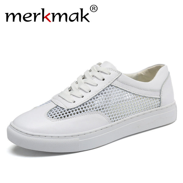 Merkmak Summer Breathable Mesh Leather Patchwork White Shoes Simple Classic Casual Fashion Shoes for Men Chic Style