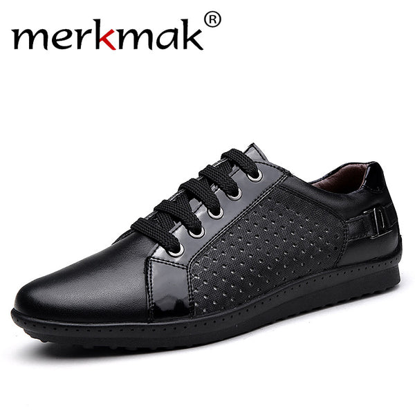Merkmak Luxury Brand 2017 Summer New Men Shoes Breathable Holes Mens Genuine Leather Flat Shoes Comfortable Big Size 37-46 Flats
