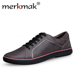 Merkmak Handmade 100% Genuine Leather Men Casual Shoes Big Size Leisure Flat Shoes Luxury Brand Mens Shoes Black Brown Drop Ship