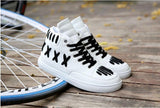White high top street dancing PU leather shoes for men