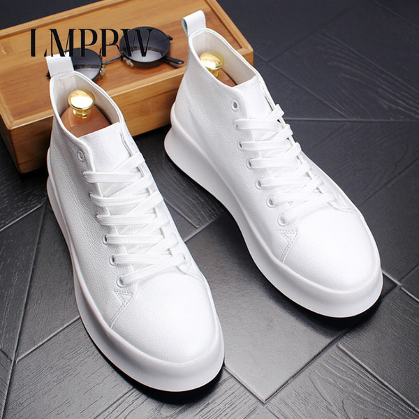 Top Quality Autumn Mens Casual Shoes Men High Top Shoes Fashion Lace Up Leather Casual Shoes Black White Red Men Flat Boots 2A