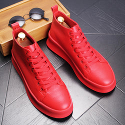 Men's Casual Shoes High Top Shoes - Red | White | Black