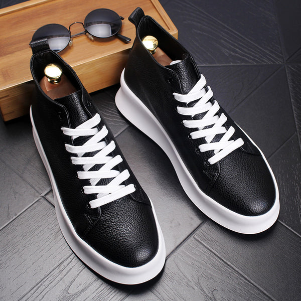 Top Quality Autumn Mens Casual Shoes Men High Top Shoes Fashion Lace Up Leather Casual Shoes Black Red Men Flat Boots 2A