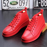 Men's Casual High Top Shoes - Red | White