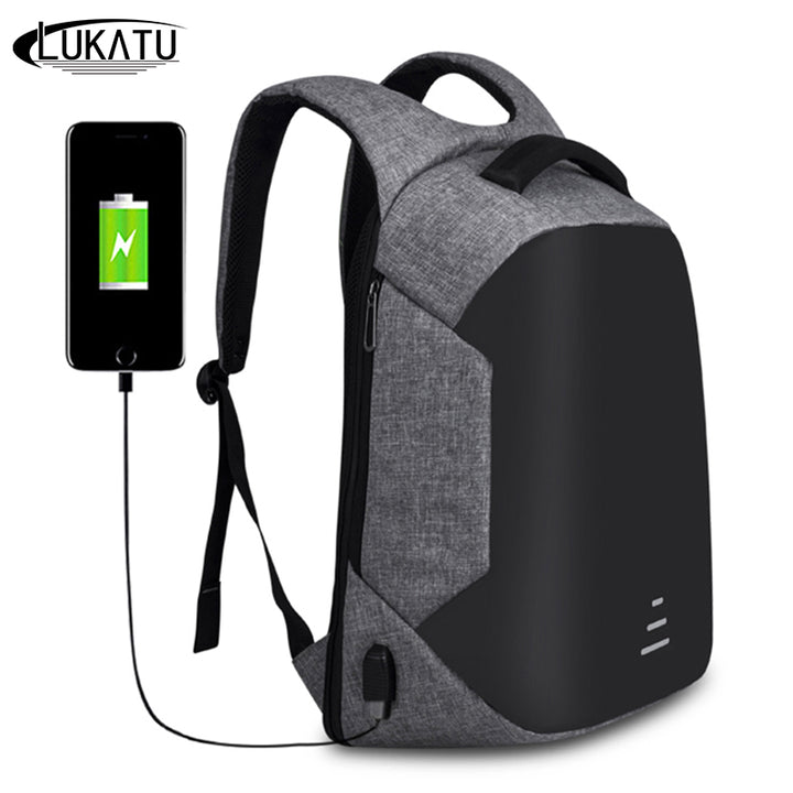 LUKATU Backpacks Men USB Charge Laptop Backpack Minimalist Fashion Anti-theft Backpack Casual Mochila Waterproof Travel Bag