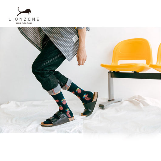 2019 New Fashion 9 Colors Striped Plaid Cherry Socks Men Combed Cotton For Spring Autumn Winter High Quality Underwear & Sleepwears
