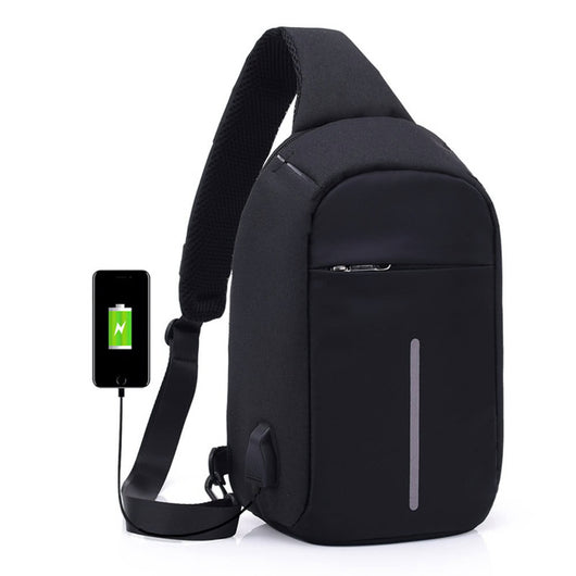 044b907f024b Anti-theft Sling Shoulder Bag with External USB Charge Crossbody Chest Bags  Backpack for Cycling