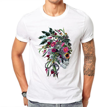 100% Cotton Hip Hop Men Punk Indian Chief Skull T Shirts Short Sleeve Casual Tops Flower Floral Printed T-Shirt White Tee