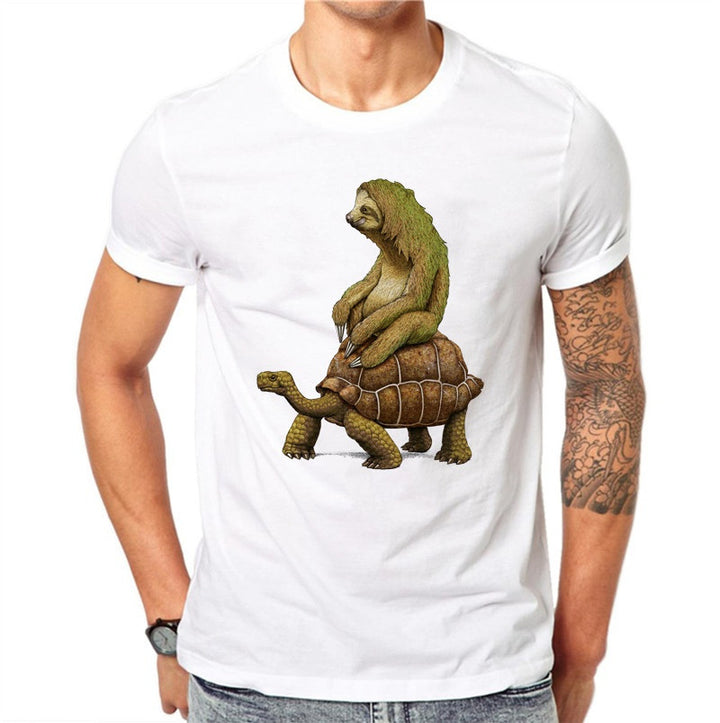 Cotton Funny Sloth Sea Turtle Men T Shirts Fashion Casual Tops Animal Printed T-Shirt White Tee Short Sleeve Plus Size