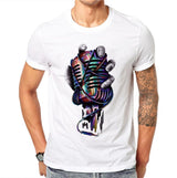 100% Cotton Cool Design Harajuku Fashion Men Casual T Shirt Printed Metal Microphone Tops Shirt T-Shirts Soft White Tops SD59