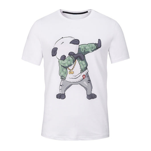 New Summer Funny Panda Printed Men T Shirt Short Sleeve Casual T-shirt for Teens Hipster Fractal Pattern Tees Cool Tops Funny T-Shirt