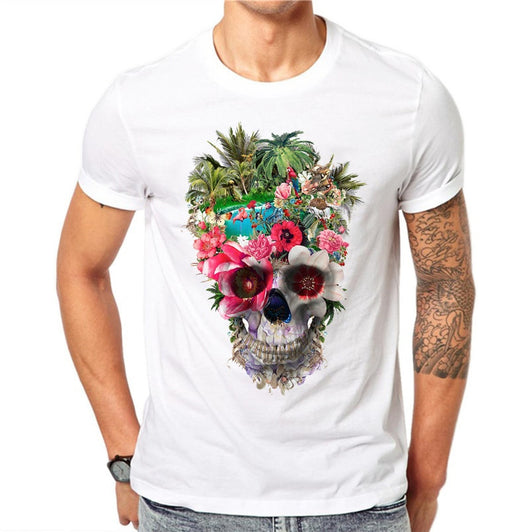 100% Cotton Flower Skull Printed T Shirts Men Fashion Animal Forest Design Short Sleeve Floral Tops Cool T-Shirt Casual Tee - BUY 3 GET 1 FREE