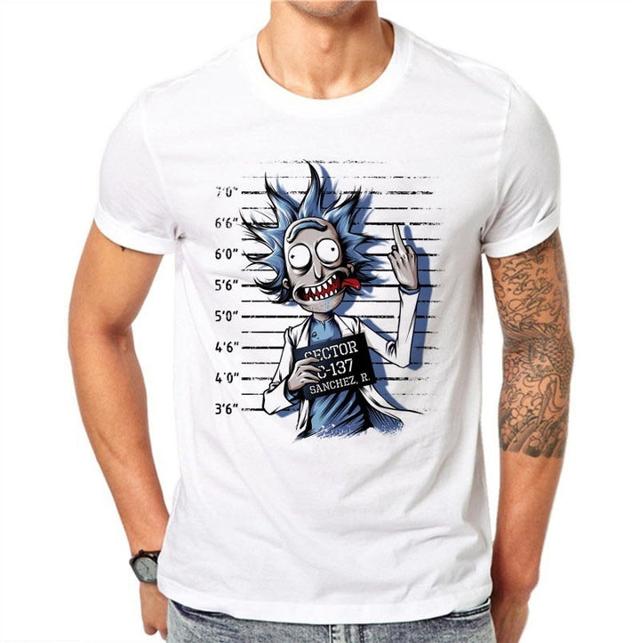 100% Cotton Summer Novelty Prisoners Design Men T Shirt Fashion Rick Print Short Sleeve