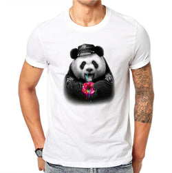 100% Cotton Donuts Panda Design Men T-shirt Lovely Animal Design Printed Male Cool Tops Short Sleeve Casual Tee T Shirts - BUY 3 GET 1 FREE