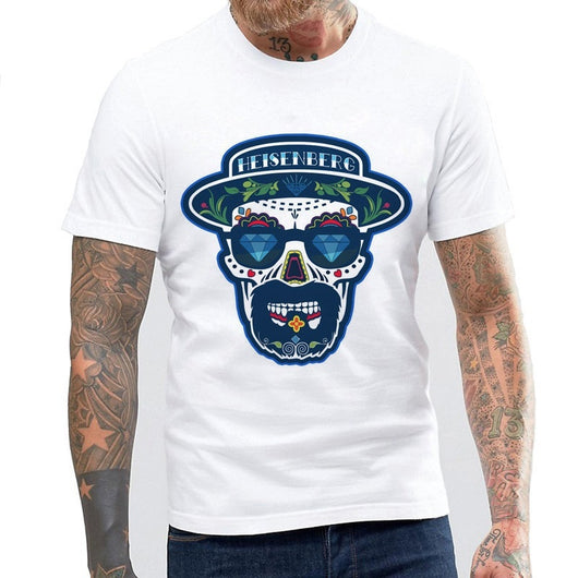 New Summer Men's Cool Fashion Breaking Bad Heisenberg Skull Funny White Tee Shirts Blouse Homme Casual Tops Funny T-Shirt Tee
