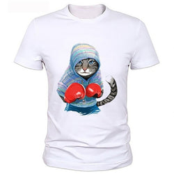 Boxing Cat Print Fashion Casual Summer White Tops Shirts Men O-neck Short Sleeve Loose Cotton T-shirt Graphic Tees