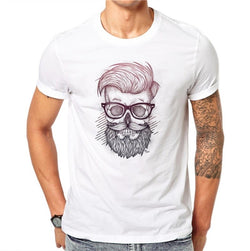100% Cotton Beard Skull Men Fashion O-Neck Personalized 3D Print Design White T Shirt Hip Hop Plus Size 4XL Short Sleeve - BUY 3 GET 1 FREE