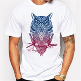 New Summer Fashion Men 's Personality Cartoon Color Owl Printing Casual Tops Funny T-Shirt
