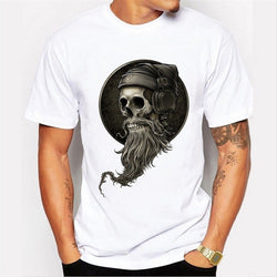 New Summer Fashion Men's Punk Style Vintage Pirate Skull  Printed T-shirt Hipster Design Customized Tops Homme Casual Tops Funny T-Shirt Tee