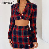 Sibybo Plaid Print Notched Mini Sexy Bodycon Dress Spring Long Sleeve Empire Two Piece Set Dress Women Buttons Party Dress 2019