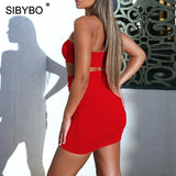 Sibybo Strapless Hollow Out Pleated Sexy Mini Dress Off Shoulder Sheath Summer Dresses Casual Backless Club Party Dress Short
