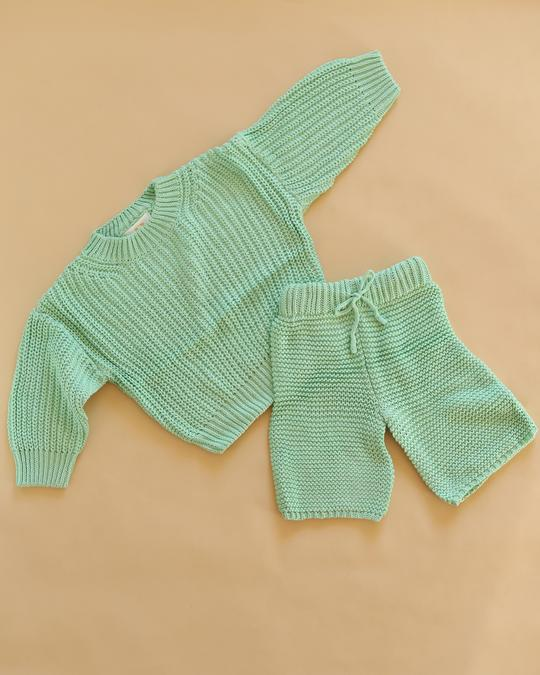 Chunky Knit Set in Mint