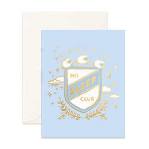 No Sleep Club Blue Greeting Card