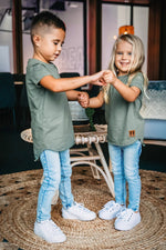 Load image into Gallery viewer, Raw Edge Tee Military - Kids
