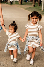 Load image into Gallery viewer, Taupe + White Stripe Tee Dress - Kids