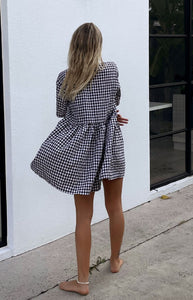 Darcey Gingham Dress in Black