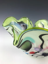 Load image into Gallery viewer, Psycho Zebra Fluted Bowl - Slime Green Interior