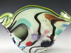 Psycho Zebra Fluted Bowl - Slime Green Interior
