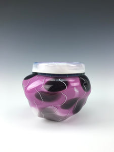 Small Push Bowl - Purple Shadows with White Cane