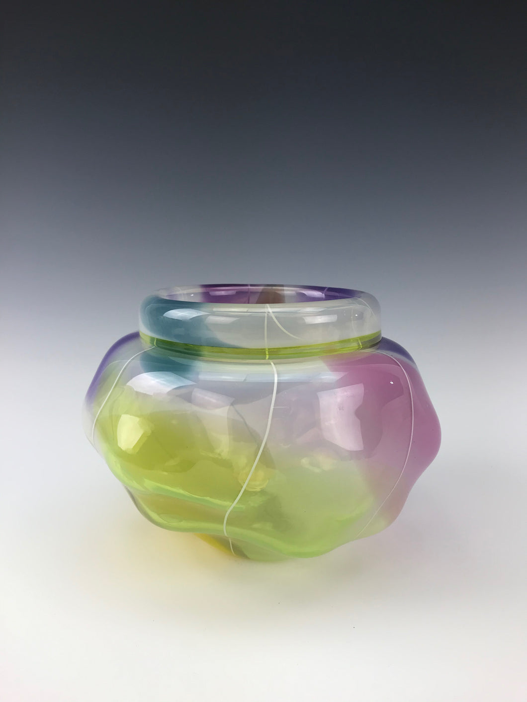 Multicolor Push Bowl - w/ White Cane