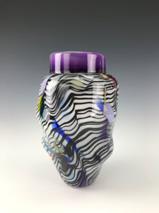 Psycho Zebra Vase - Purple Interior