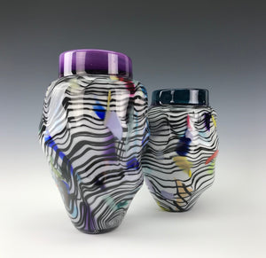 Psycho Zebra Vase Pair - Purple/Teal