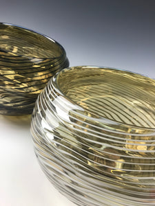 Oasis Bowl Pair - Iris Yellow/Black Lines and Iris Clear/White Lines