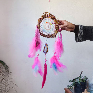 Pastel Rainbow Dreamcatcher with Pink Feathers, Sacred Gift for Girls, Semi-precious Stone Wall Ornament, Customizable