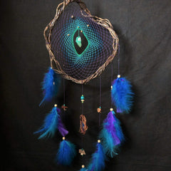 Native american dream catcher, dream catcher crystal precious stones, dream catcher wall hanging, dream catcher purple crystal blue green