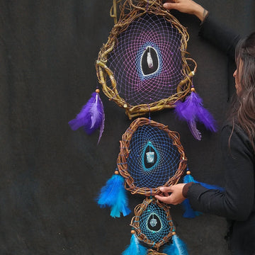 Large dream catcher wall hanging, big dreamcatcher, chakra dreamcatchers, chakras gemstone decor