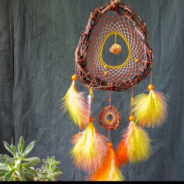 Sacral chakra crystal dream catcher Natural Honey Calcite, Yellow dreamcatcher orange