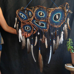 Large dream catcher blue crystal dream catcher collage Mural