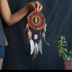 Red wall decor dreamcatcher with natural feather, boho dream catcher